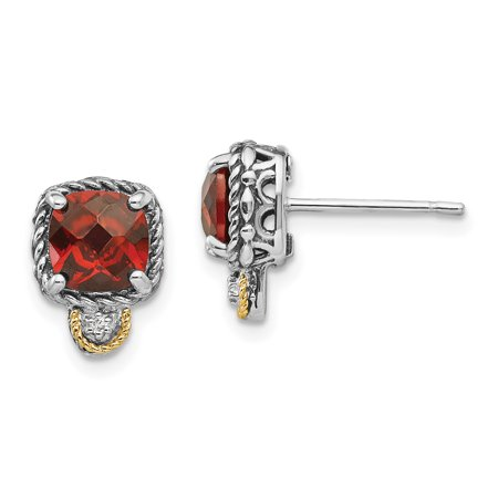 Sterling Silver w/14k Gold Garnet & Diamond Post Earrings (7MM) 14k Garnet Heart Earrings