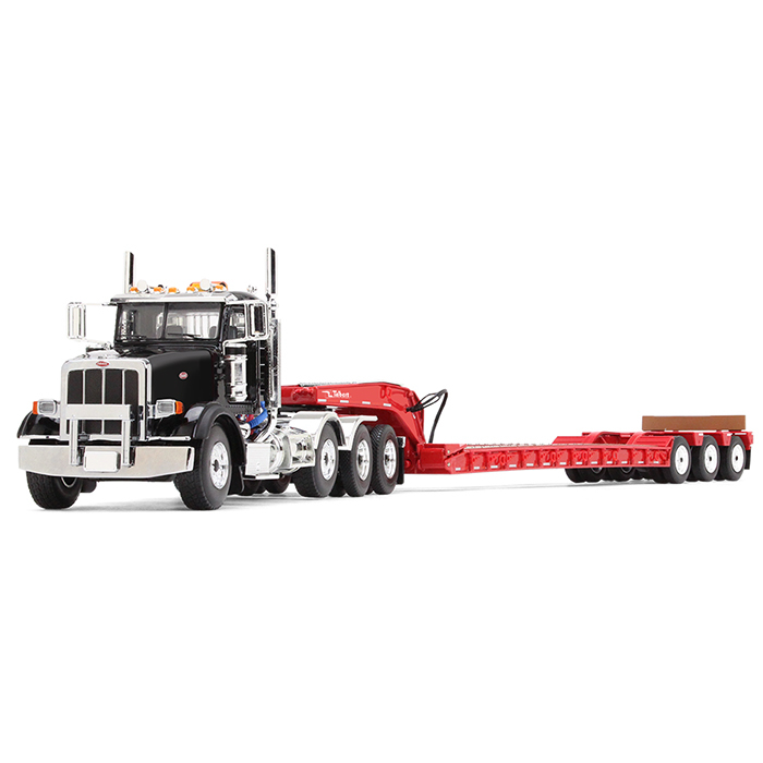 Peterbilt 367 with Tri Axle Lowboy Trailer Komatsu Black and Red 1 50 Diecast Model by First Gear by First Gear