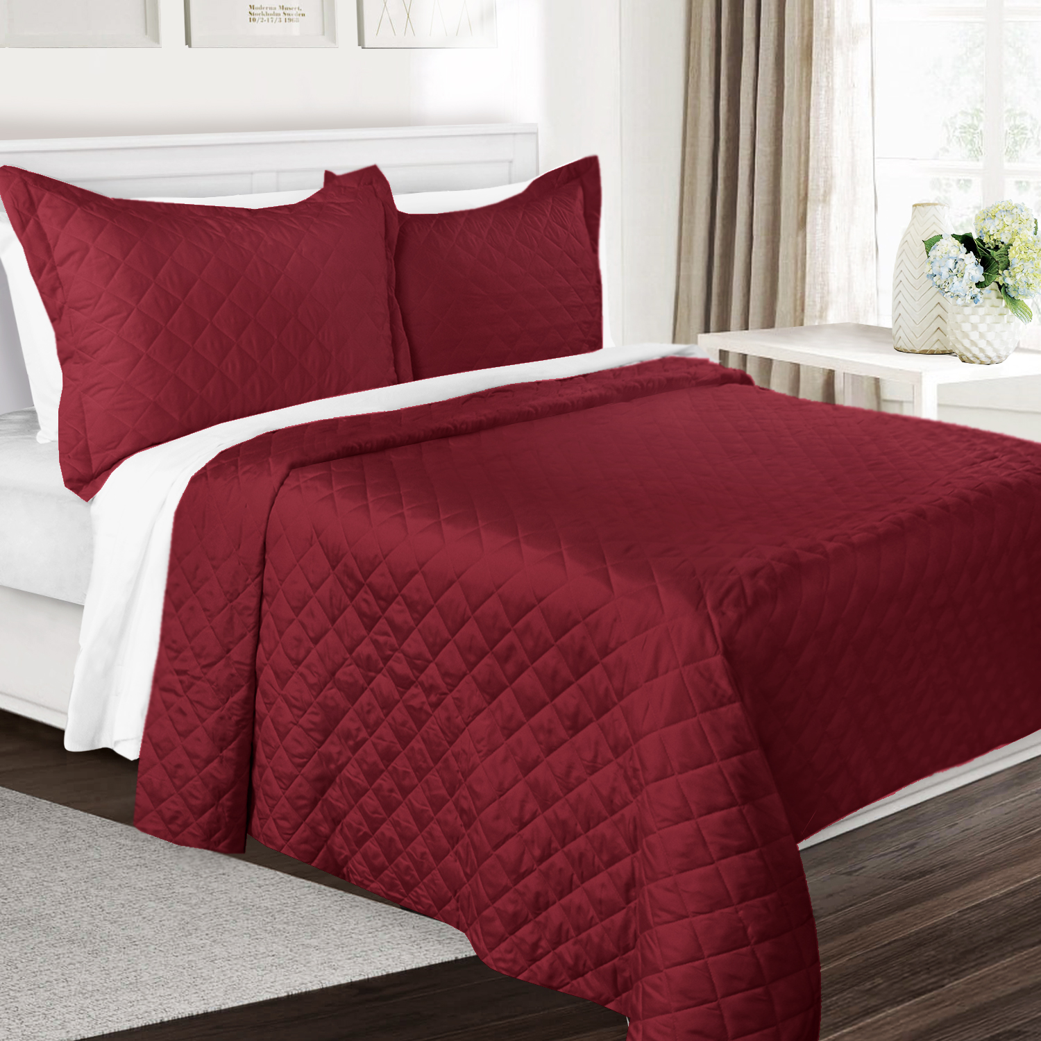 3 Piece Quilt Set Full/Queen Size By Clara Clark - Luxury Bedspread Coverlet Soft All Season Microfiber - Machine Washable - Comes in Many Colors - set includes Quilt & Shams