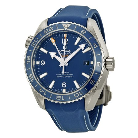 Omega  Men's 232.92.44.22.03.001 'Seamaster Planet Ocean' Blue Dial Blue Rubber Strap GMT Swiss Automatic Co-Axial