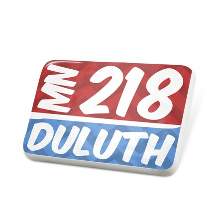Porcelein Pin 218 Duluth, MN red/blue Lapel Badge – (Stores In Duluth Mn)