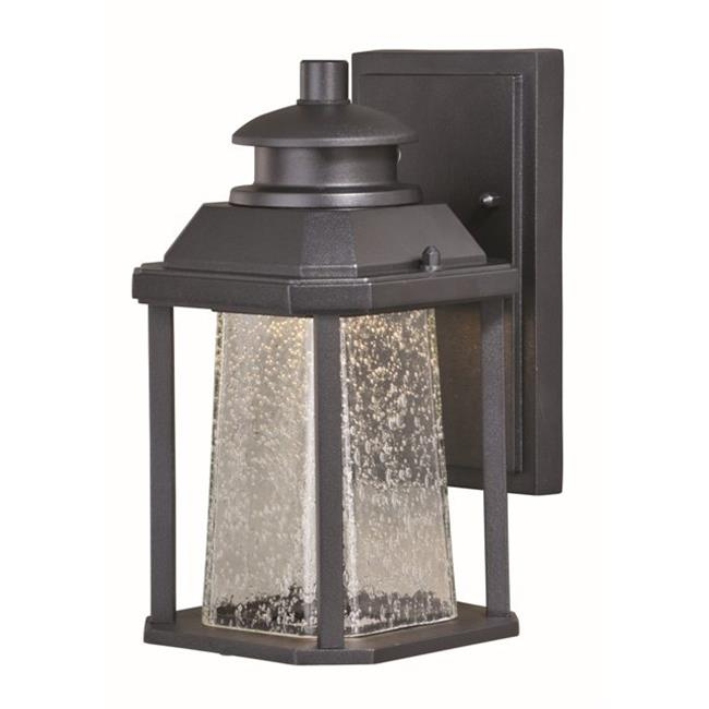 Vaxcel International T0308 10.5W 5.5 in. Freeport LED Outdoor Wall Light Textured Black, Clear Seeded Glass
