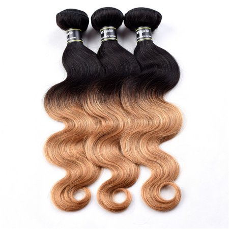 Beroyal Indian Body Wave Virgin Human Hair Extensions Ombre Hair Body Wave Bundles T1b/27,