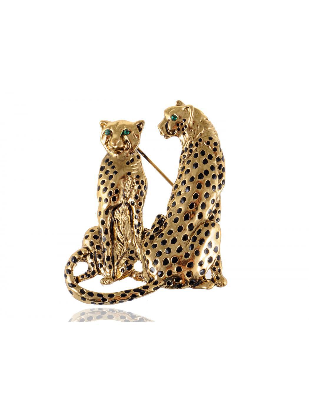 Green Eyed Crystal Rhinestone Golden Tone Twin Family Leopard Custom Pin Brooch by