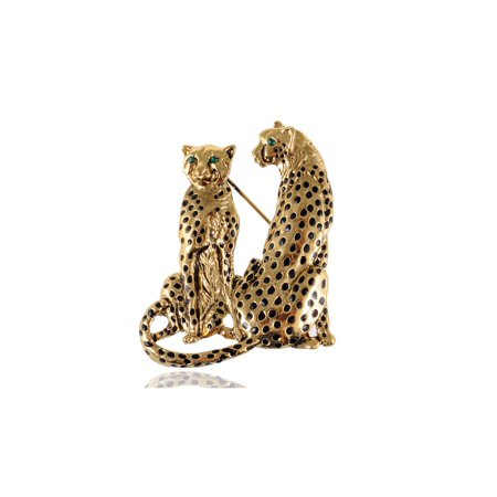 Green Eyed Crystal Rhinestone Golden Tone Twin Family Leopard Custom Pin Brooch