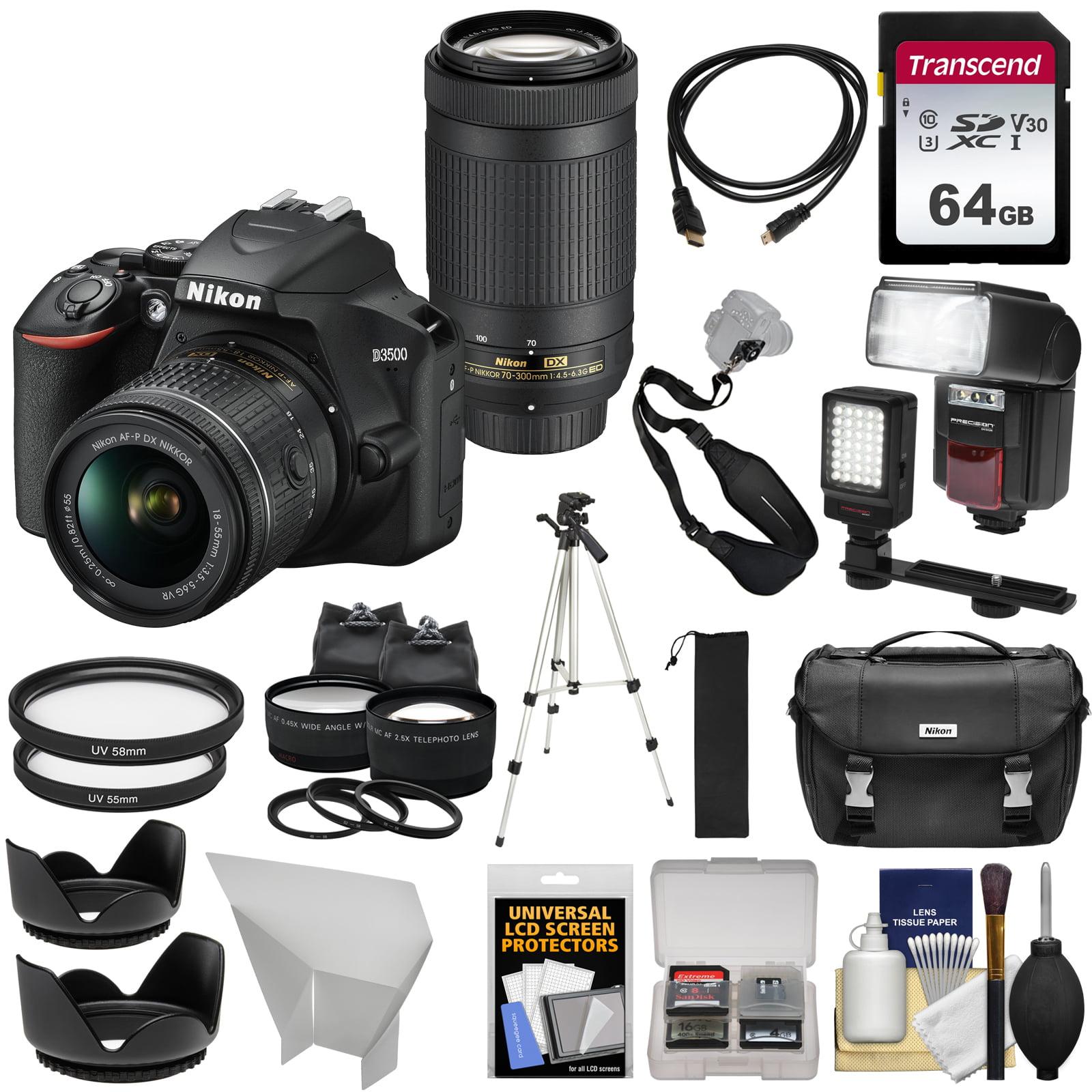 Nikon D3500 Digital SLR Camera + 18-55mm VR + 70-300mm DX AF-P Lenses with 64GB Card + Case + Flash + Tripod + LED Light + 2 Lens Kit