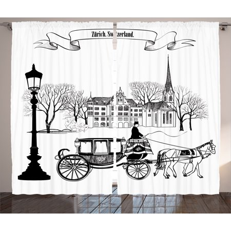 (Sketch Curtains 2 Panels Set, Old Street Scene with A Carriage Horse from Twenties Historical Northern Europe Decor, Living Room Bedroom Decor, Black White, by Ambesonne)