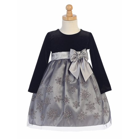 Made in the USA - Black Velvet w/ Pink & Silver Glittered Snowflake Tulle Holiday / Christmas Girls' - Velvet Dress Girl