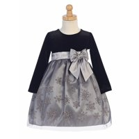 Made in the USA - Black Velvet w/ Pink & Silver Glittered Snowflake Tulle Holiday / Christmas Girls' Dress