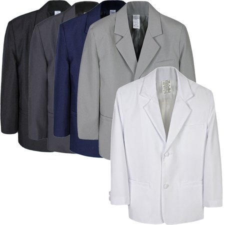 Boys Toddler Kid Formal Wedding Black Dark Gray White Navy Blazer Jacket sz S-7 (White Men Blazer Jacket)
