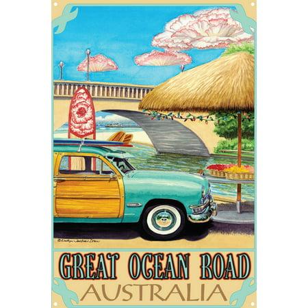 "Great Ocean Road Australia Turquoise Woody Metal Art Print by Evelyn Jenkins Drew (12"" x 18"")"