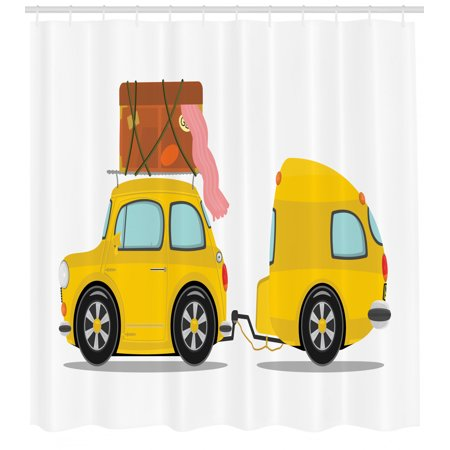 Happy Camper Shower Curtain, Retro Car with Trailer Cartoon Outdoor Activity Theme Vacation Illustration, Fabric Bathroom Set with Hooks, 69W X 70L Inches, Multicolor, by Ambesonne ()