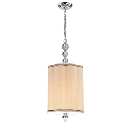 Natch 12-Inch Chrome and Glass 4-Light Pendant with Fabric Shade
