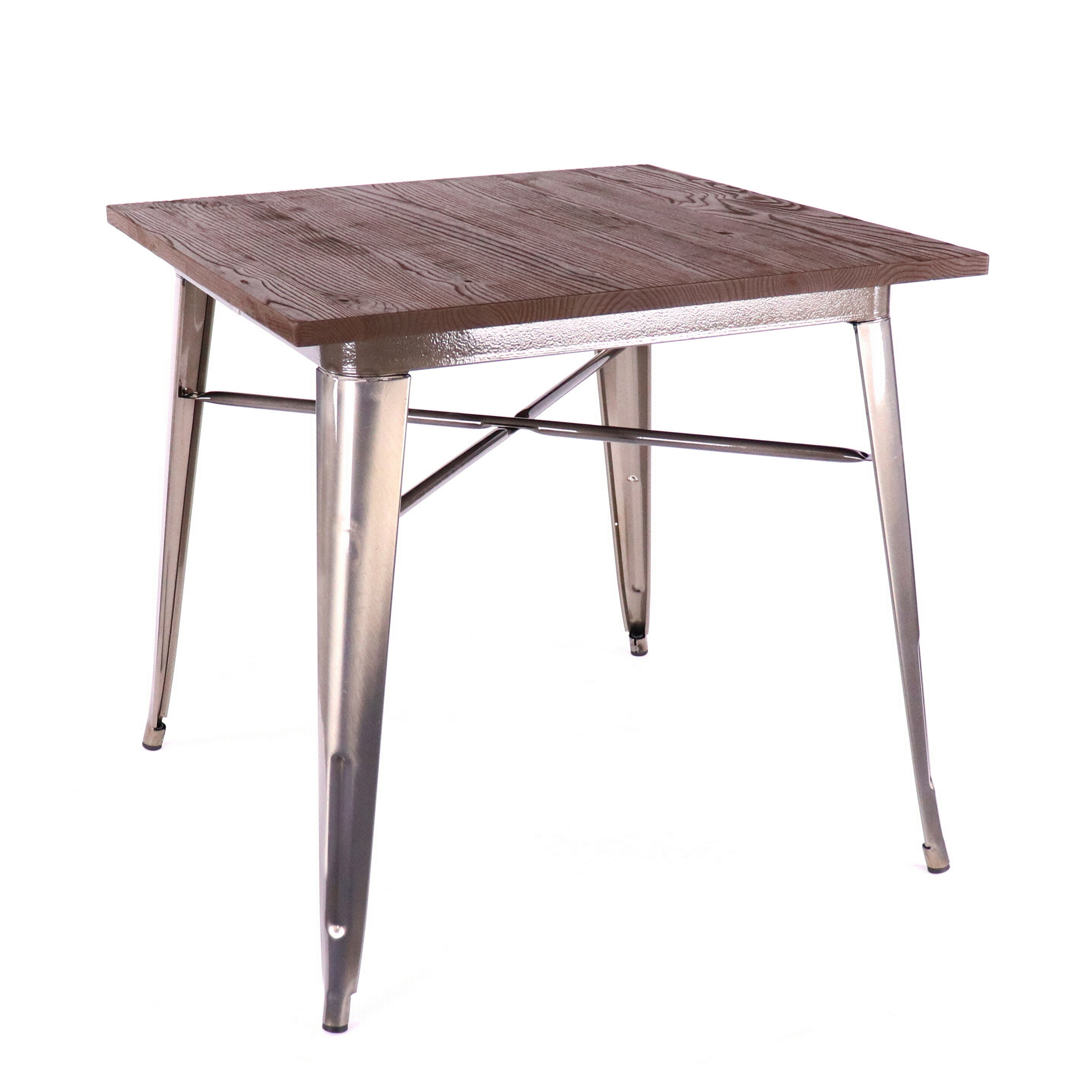Dreux Rustic Matte Light Elm Wood Steel Dining Table 30 Inch