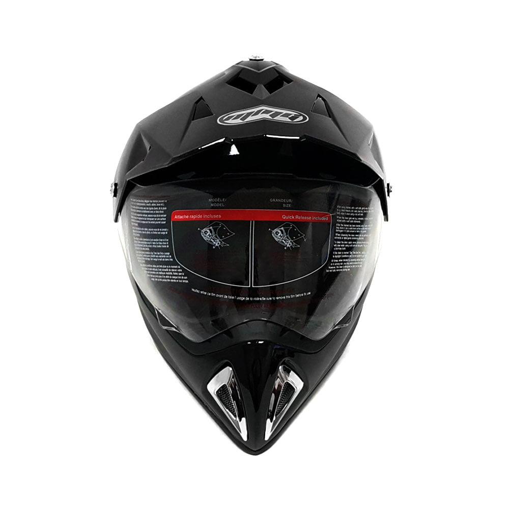 Helmet Dual Sport Off Road Motorcycle Dirt Bike ATV - FlipUp Visor - 27V (L, Shiny Black)