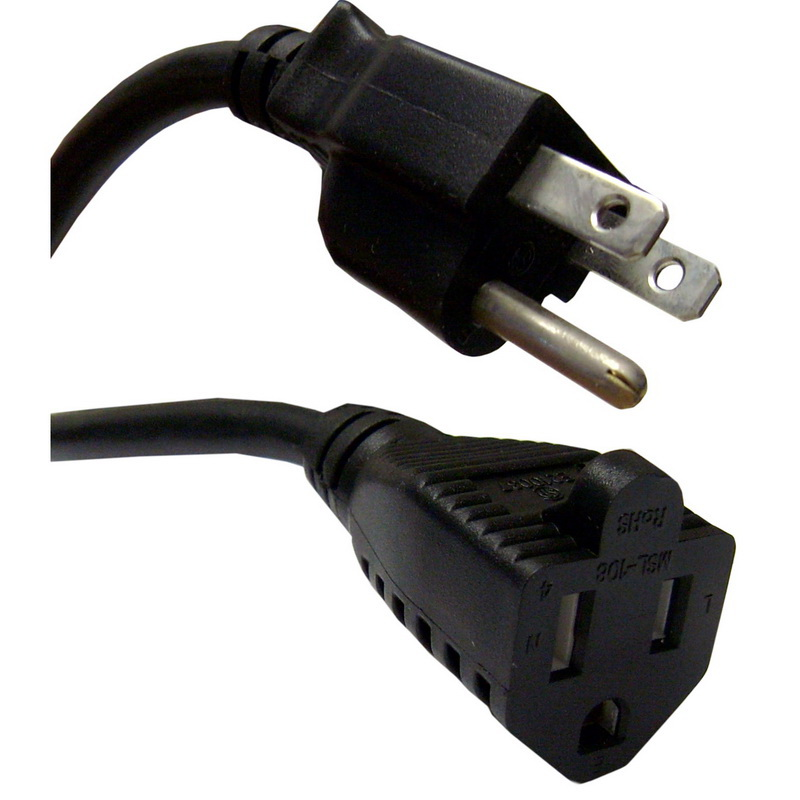 Power Extension Cord, Black, NEMA 5-15P to NEMA 5-15R, 10 Amp, 6 foot