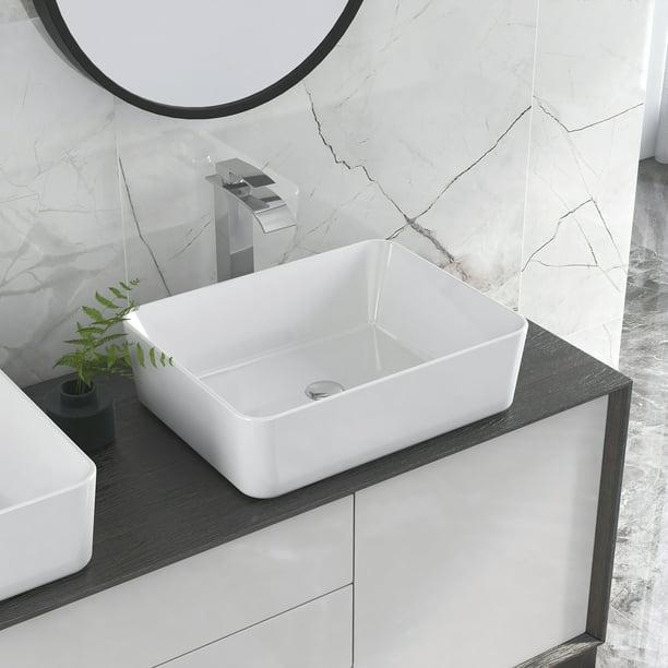 Deervalley Dv 1v031 White Ceramic Rectangular Vessel Bathroom Sink Porcelain Art Wash Basin Top Counter Walmart Com Walmart Com
