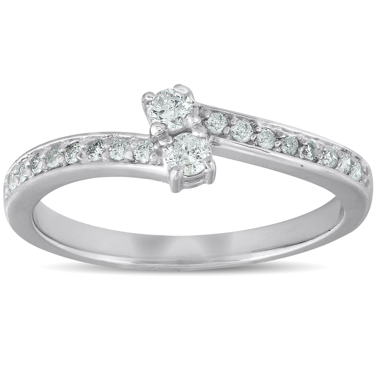 1 4 ct two stone diamond engagement forever us ring white. Black Bedroom Furniture Sets. Home Design Ideas