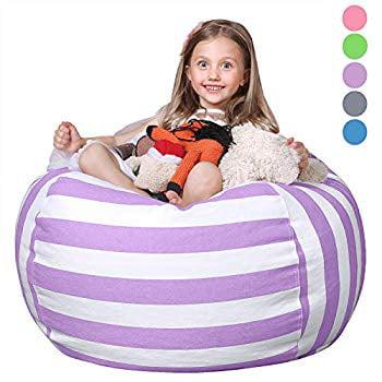 WAQIA Stuffed Storage Bean Bag Chair Cover Premium Corduroy Extra Large Bean Bag for Organizing Children Plush Toys No Filler