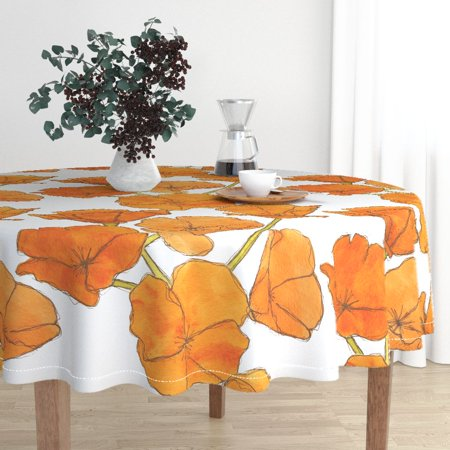 Arf Giant Scale - Round Tablecloth Large Scale Large Scale Poppies Orange White Cotton Sateen