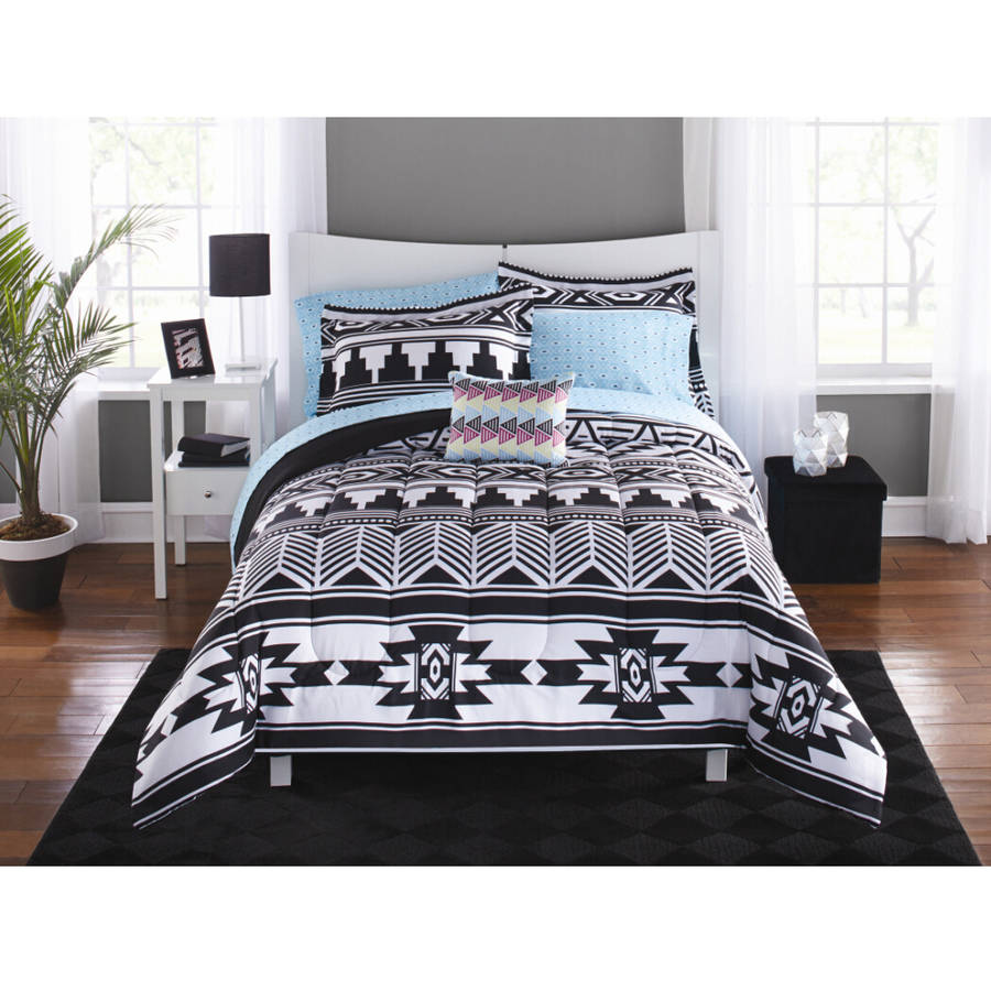 Bed sheet set black and white - Mainstays Tribal Black And White Bed In A Bag Bedding Set Walmart Com