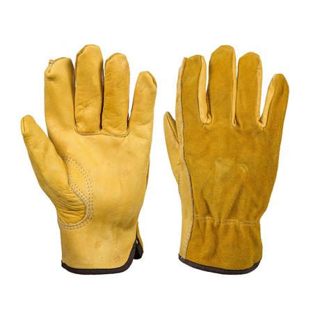1 Pairs Heavy Duty Gardening Gloves Thorn Proof Leather Work Gloves L