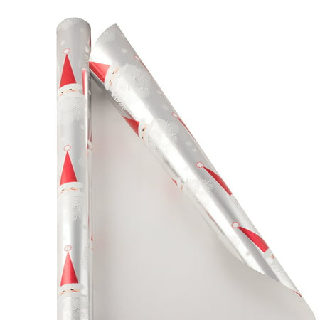 JAM Christmas Wrapping Paper, 12 Sq Ft, 1/Pack, Snowflake Santa Gift Wrap ()