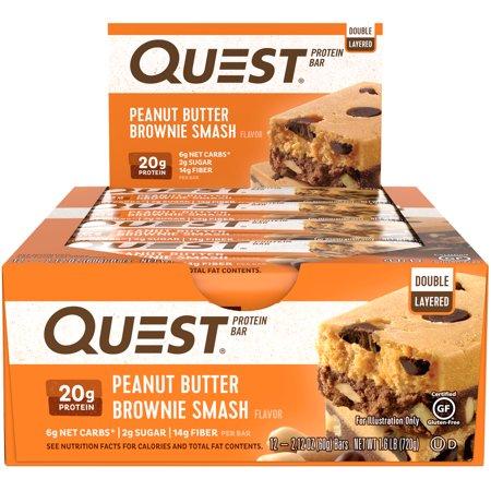 Advantage Peanut (Quest Nutrition Protein Bar, Peanut Butter Brownie Smash, 20g Protein, 12)