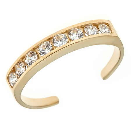 10k Solid Gold Band Toe Ring Cubic Zirconia Channel Set Ring Body Jewelry