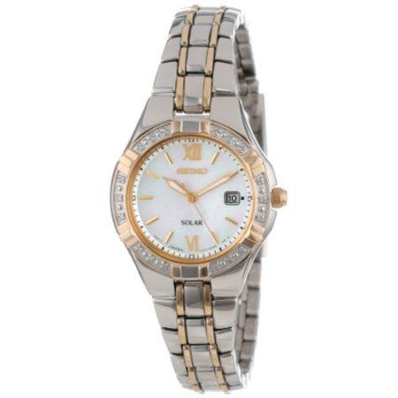 Seiko Women's Solar Mother Of Pearl Dial Two-tone Stainless Steel Watch SUT068 Seiko White Bracelet