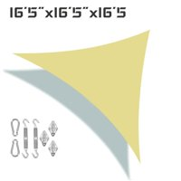 """Sun Shade Sail Canopy 16'5"""" x 16'5"""" x 16'5"""" Triangle With Stainless Hardware Kit UV Block For Outdoor Patio Garden"""