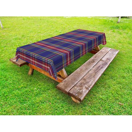 Plaid Outdoor Tablecloth, Old Fashioned Scottish Tartan Country Style with Geometric Look Abstract Arrangement, Decorative Washable Fabric Picnic Table Cloth, 58 X 84 Inches,Multicolor, by Ambesonne ()