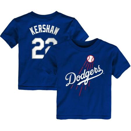 Clayton Kershaw Los Angeles Dodgers Majestic Toddler Player Cap Logo Name & Number T-Shirt - Royal