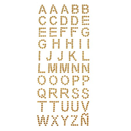 Alphabet Letters Rhinestone Stickers, 1-Inch, 50-Count, -