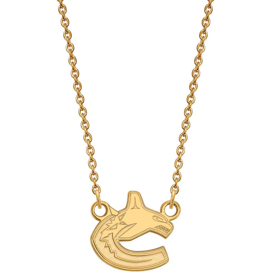 LogoArt NHL Vancouver Canucks 14kt Gold-Plated Sterling Silver Small Pendant with Necklace