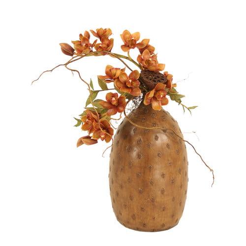 Distinctive Designs Silk Cymbidium Orchids with Pods in Cork Vase