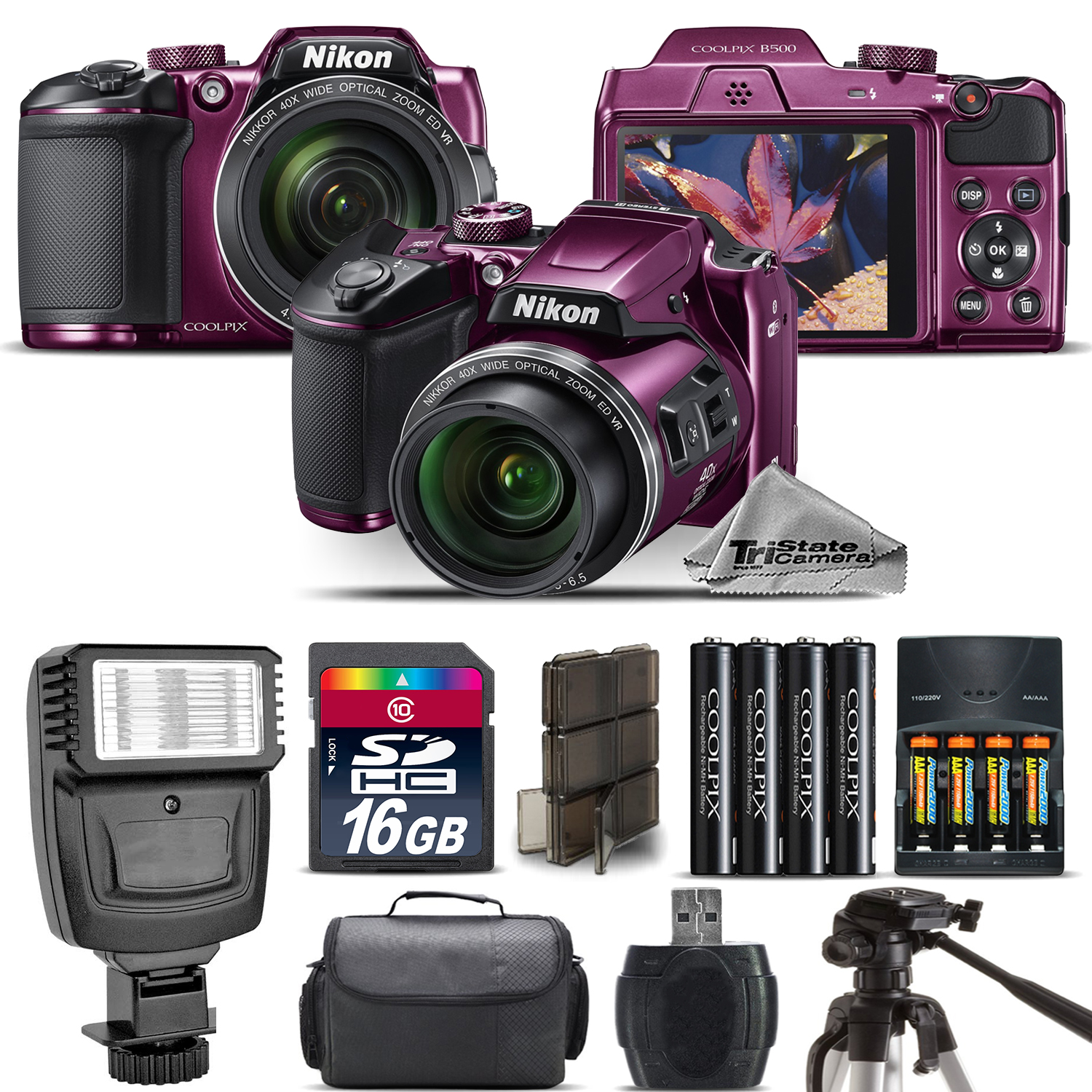 Nikon COOLPIX B500 Plum Camera 40x Optical Zoom + Flash + Case - 16GB Kit Bundle