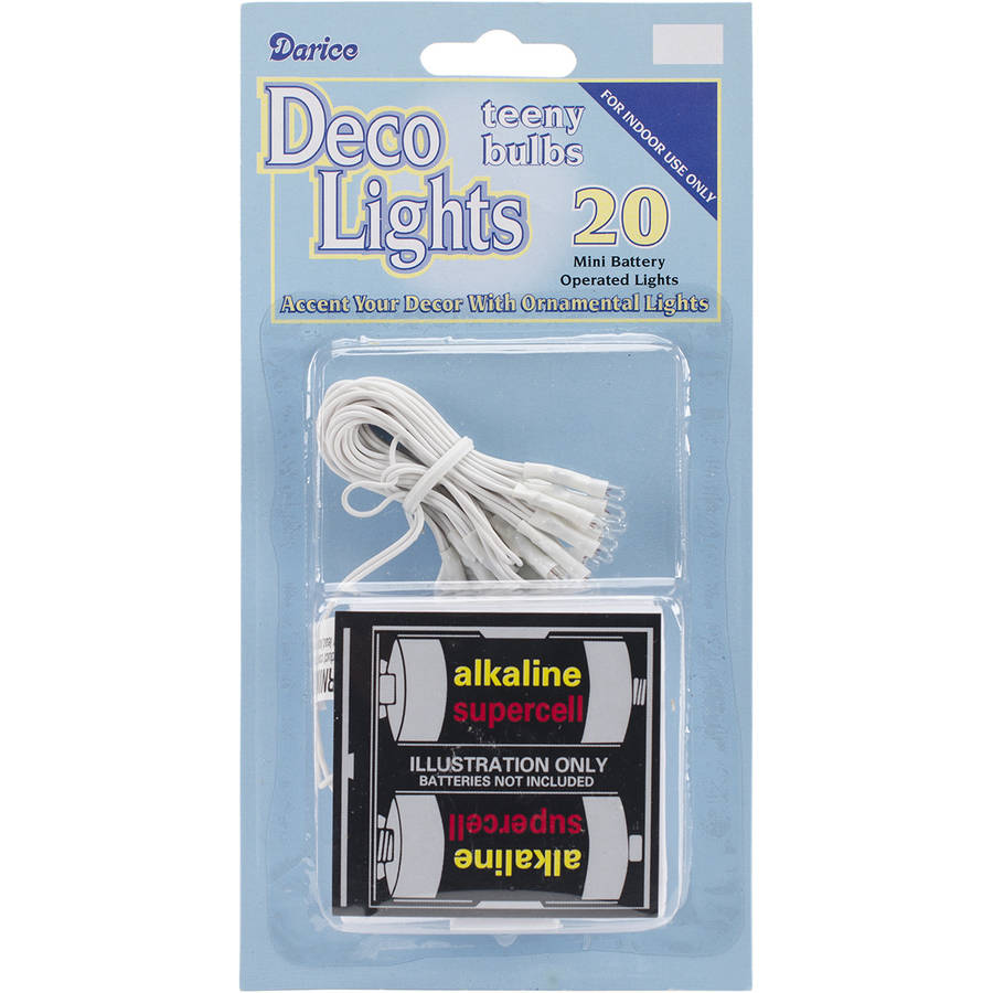 Deco Lights Battery Operated Teeny Bulbs, 20 Bulbs, Clear Lights, White Cord