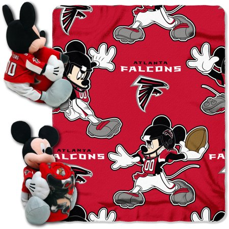 Official NFL and Disney Cobrand Atlanta Falcons Mickey Mouse Hugger Character Shaped Pillow and 40