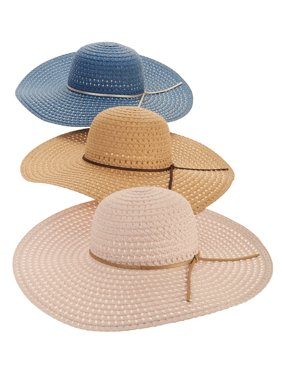 b4b68bd344d96 Product Image Time and Tru Women s Straw Floppy Hat 3-pack