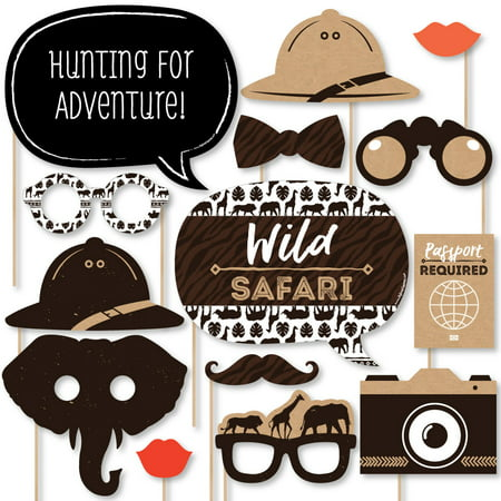 Wild Safari - African Jungle Adventure Birthday Party or Baby Shower Photo Booth Props Kit - 20 Count - Jungle Birthday Party
