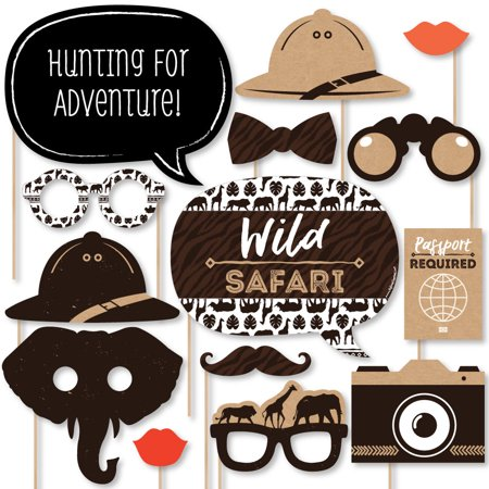 Wild Safari - African Jungle Adventure Birthday Party or Baby Shower Photo Booth Props Kit - 20 Count - Party City Safari Baby Shower