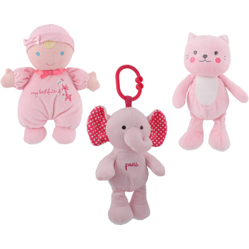 Child of Mine Pink Kitty Beanbag, Blonde Doll and Pink Elephant Press Light Up