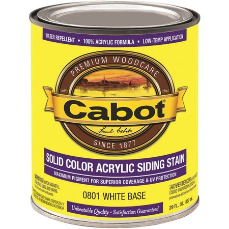 Cabot 800 Self Priming Water Based Solid Color Siding Stain  1 Qt  White Base