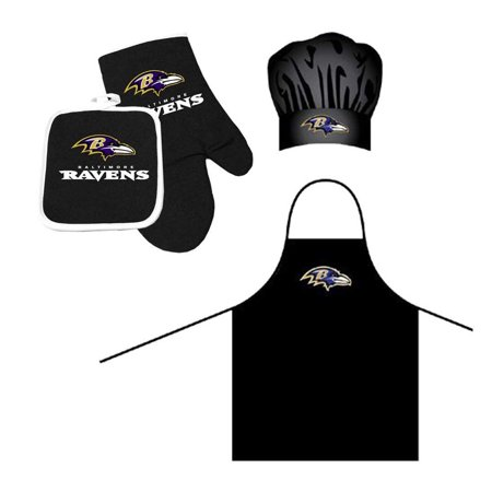 NFL Baltimore Ravens Barbeque Apron, Chef's Hat and Pot Holder Deluxe Set - Raven Bar Dc