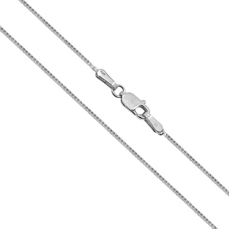 14K Solid White Gold 1mm Box Chain Necklace 16