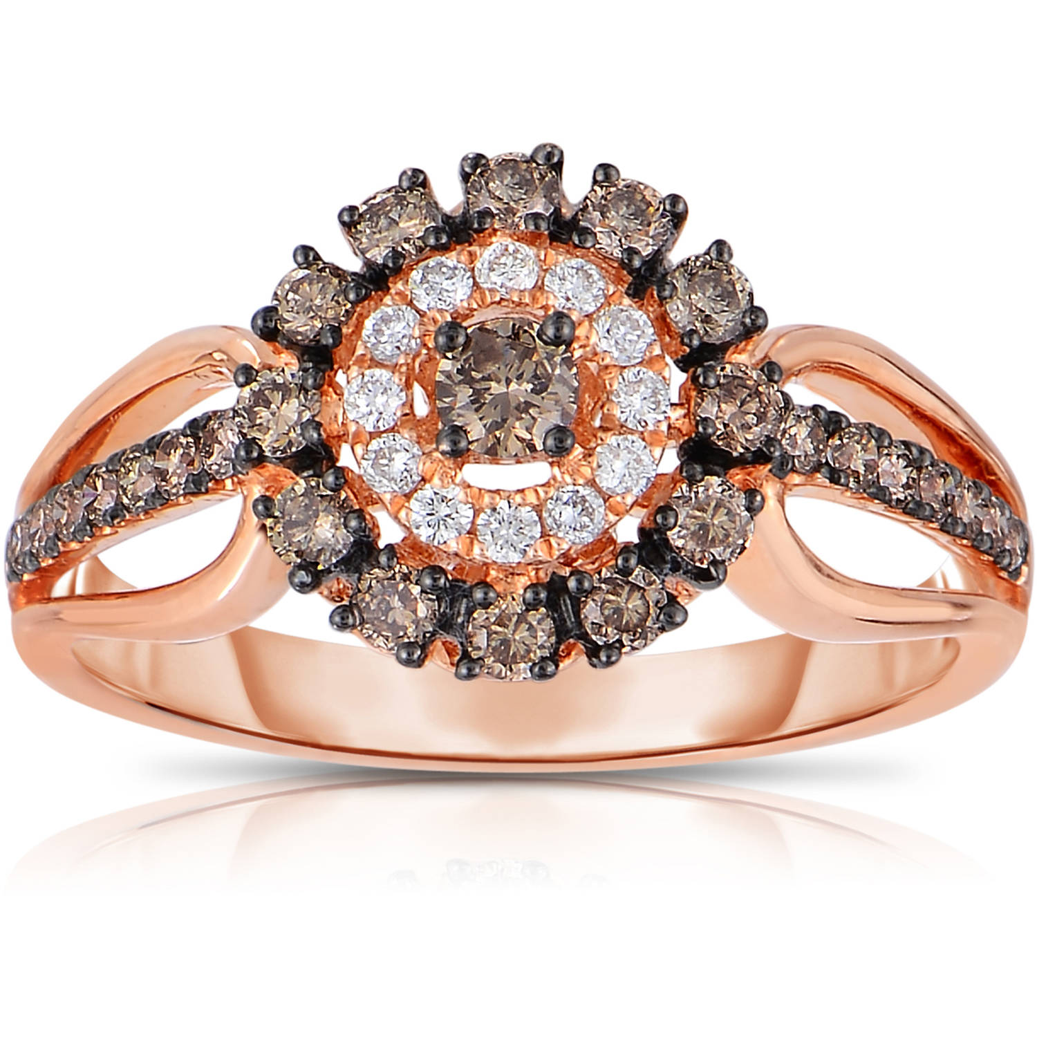 5/8 Carat T.W. Diamond 14kt Rose Gold Fashion Ring Set with Champagne and HI/I2I3 Quality Diamonds