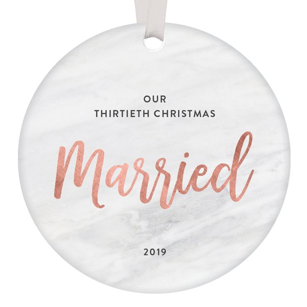 Our 30th Christmas Married Ornament Dated 2019 Gift Idea Husband Wife Keepsake Mom Dad Parents 30 Year Marriage Thirtieth Wedding Anniversary Present Sleek Blush Pink 3 Marbled Ceramic Or0850 30 Walmart Com