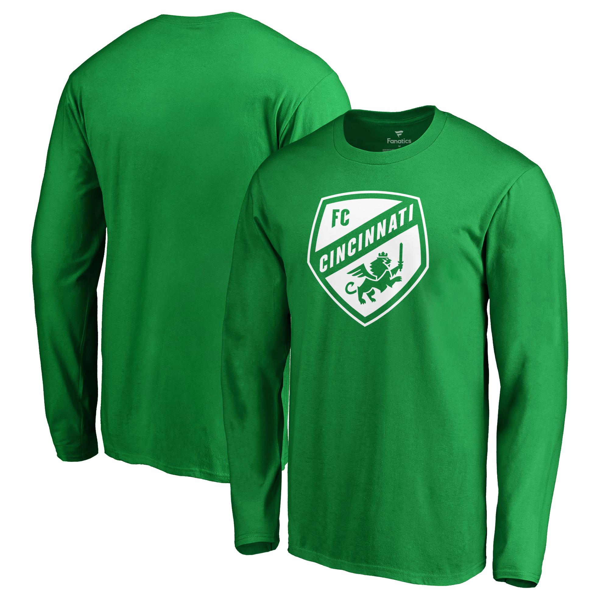 FC Cincinnati Fanatics Branded St. Patrick's Day White Logo Long Sleeve T-Shirt - Kelly Green