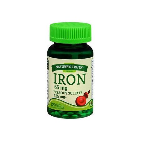 Nature's Truth Iron 65mg Ferrous Sulfate 325mg Supplements 120 (65mg Tabs)